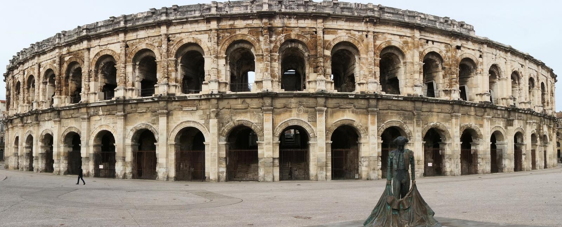 Roman amphitheater in Nimes, Provence stock image
