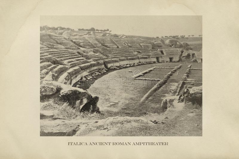 Roman Amphitheater ruin Italica, Seville, Spain royalty free stock photos