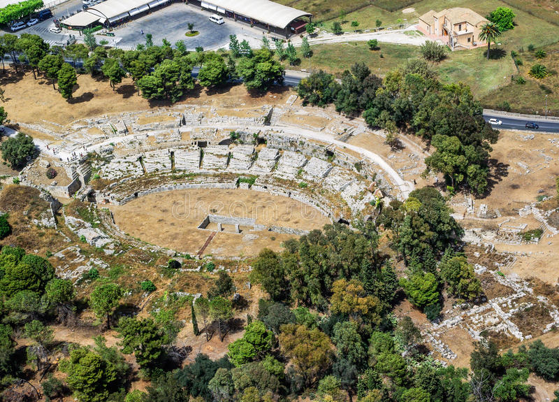 Roman amphitheater of Syracuse Sicily royalty free stock photo
