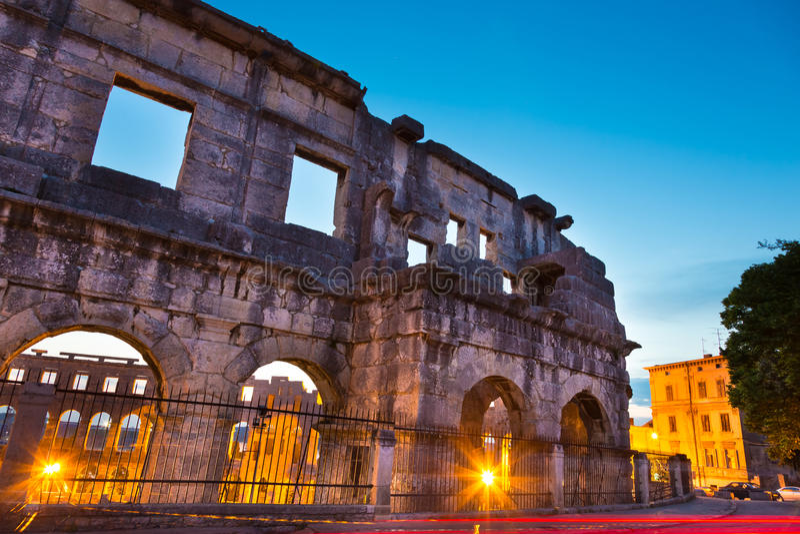 Roman Amphitheater van Pula, Kroatië. royalty-vrije stock foto's