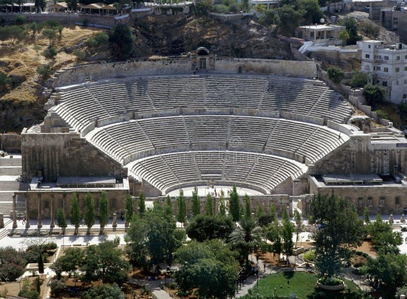 Roman amphitheatre in Amman stock photos