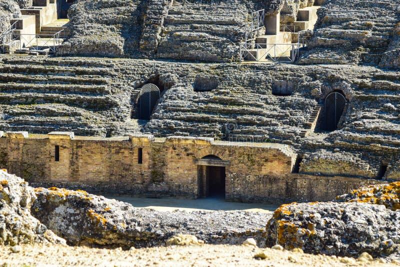 Roman Amphitheatre antique en dehors de Séville photos libres de droits