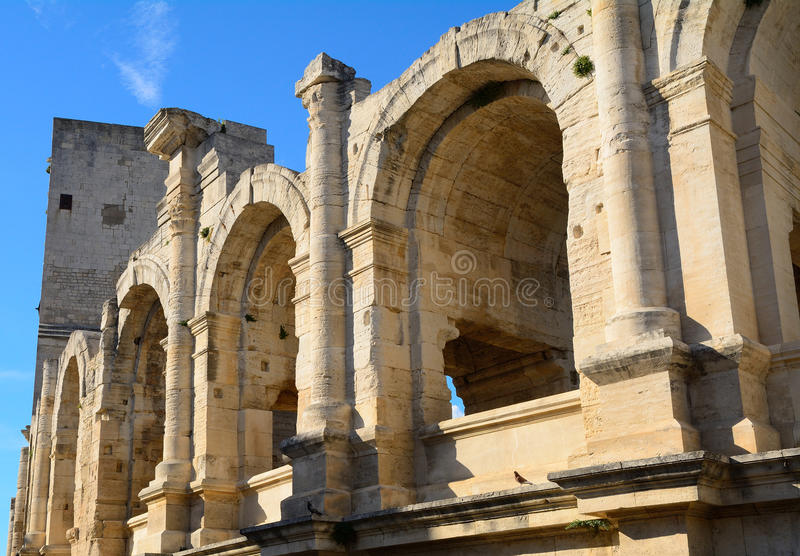 Roman amphitheatre, Arles, France stock images