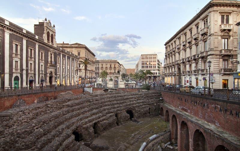 Roman Amphitheatre in Catanië stock fotografie