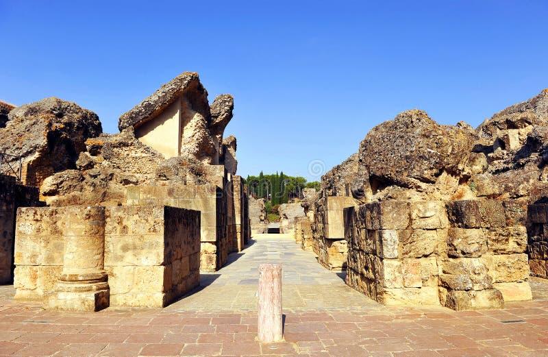 Roman Amphitheatre d'Italica, Andalousie, Espagne photo libre de droits