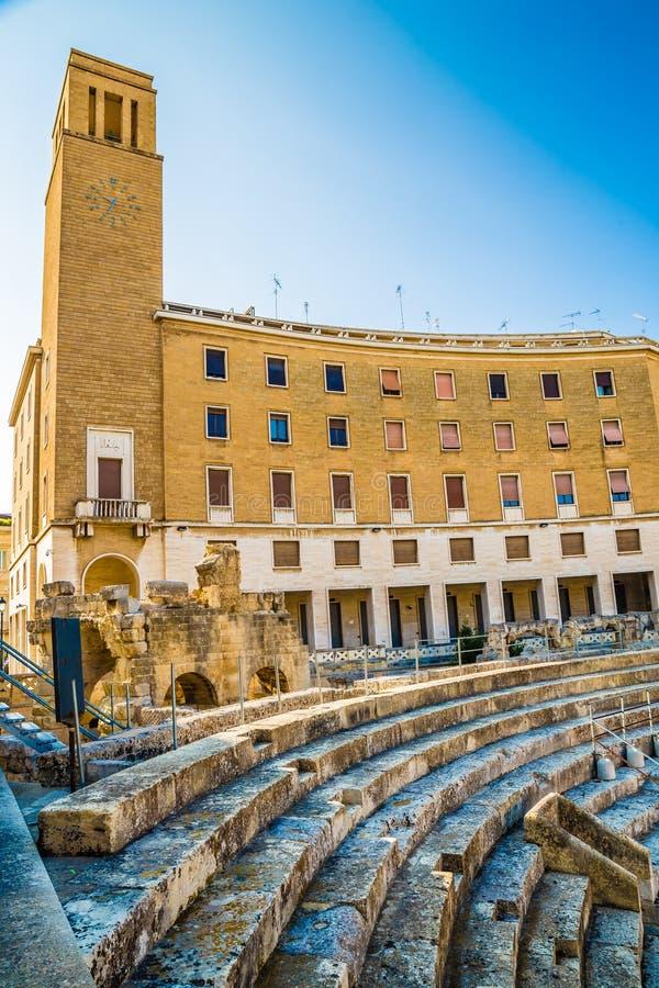 The Roman Amphitheatre - Lecce, Apulia, Italy stock photography