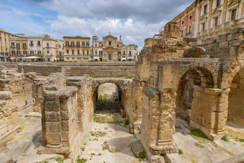 Roman Amphitheatre in Lecce, Puglia Apulia, southern Italy stock images