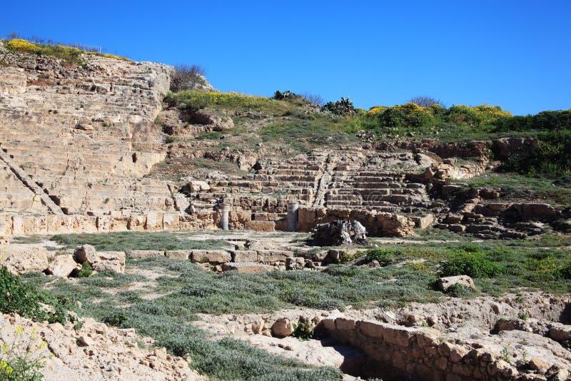 Roman Amphitheatre, Paphos, Chipre foto de stock royalty free