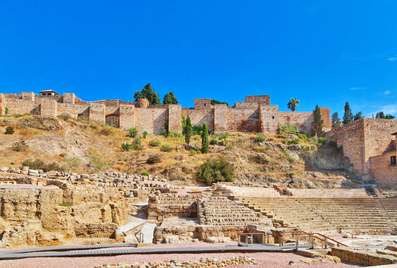 Roman amphitheatre ruins in Malaga stock photo