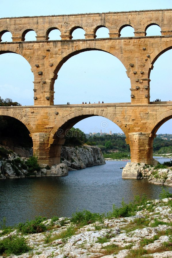 Roman ancient aqueduct royalty free stock photography