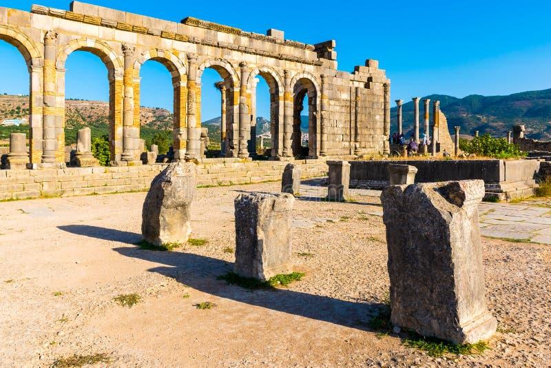 Roman Ancient city of Volubilis, Meknes, Unesco World Heritage S. Ite in Morocco stock image