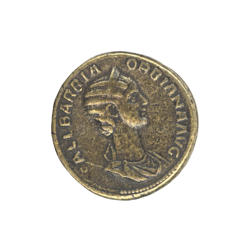 Roman antique coin stock image