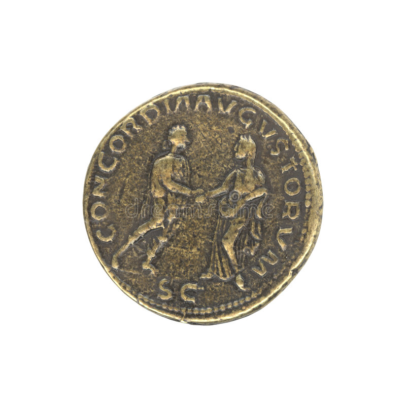 Roman antique coin royalty free stock photos