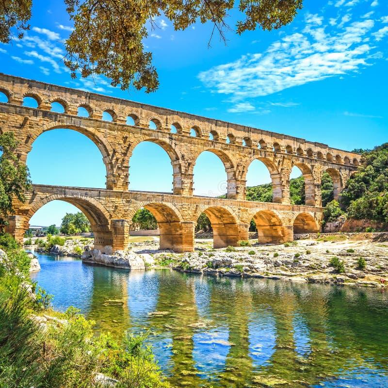 Roman aquaduct Pont du Gard, Unesco-plaats. Languedoc, Frankrijk. stock foto's