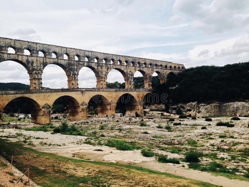Roman aqueduct royalty free stock photography