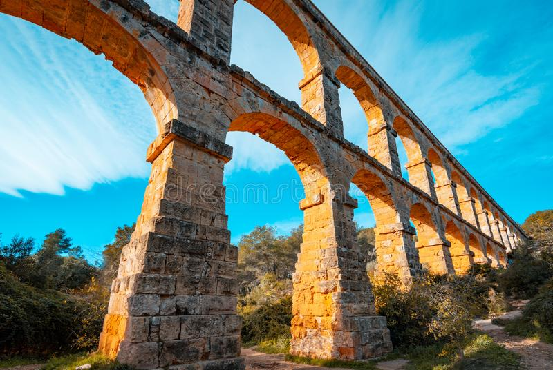 Roman Aqueduct Pont del Diable in Tarragona, Spain. The Archaeological Ensemble of Tarraco is declared a UNESCO World Heritage Site Ref 875 royalty free stock photo