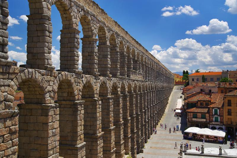 The Roman aqueduct of Segovia - the most important architectural landmark of Segovia. The Aqueduct of Segovia or more accurately, the aqueduct bridge is a Roman stock image