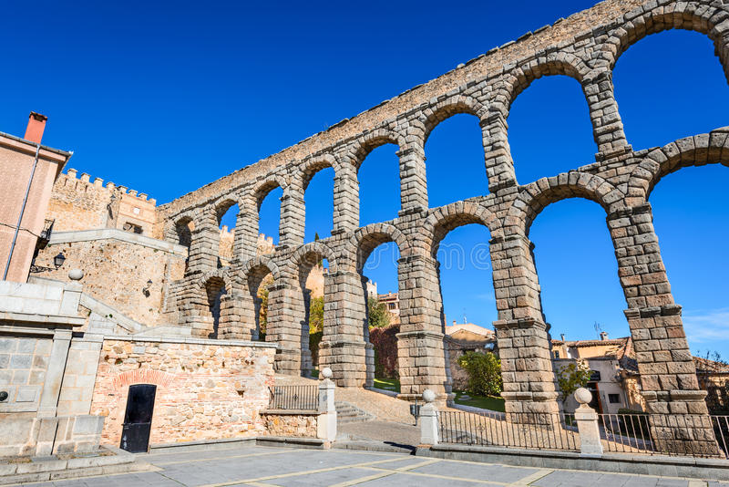 Roman Aqueduct, Segovia, Spain royalty free stock images