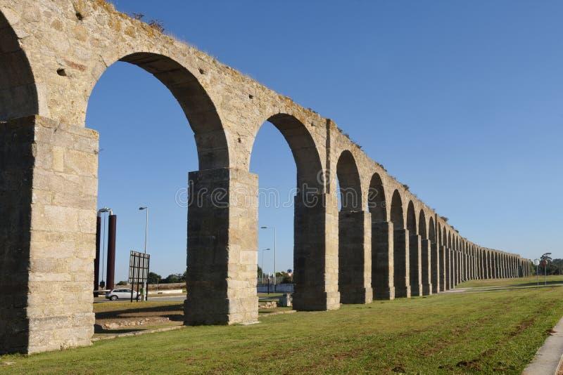 Roman aqueduct of Vila do Conde,. Portugal stock images