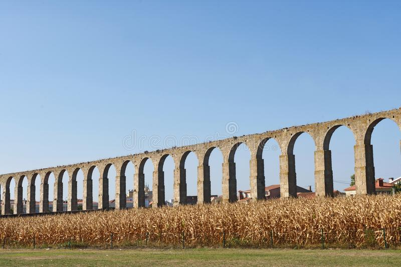 Roman aqueduct of Vila do Conde, Portugal. A Roman aqueduct of Vila do Conde, Portugal royalty free stock photo