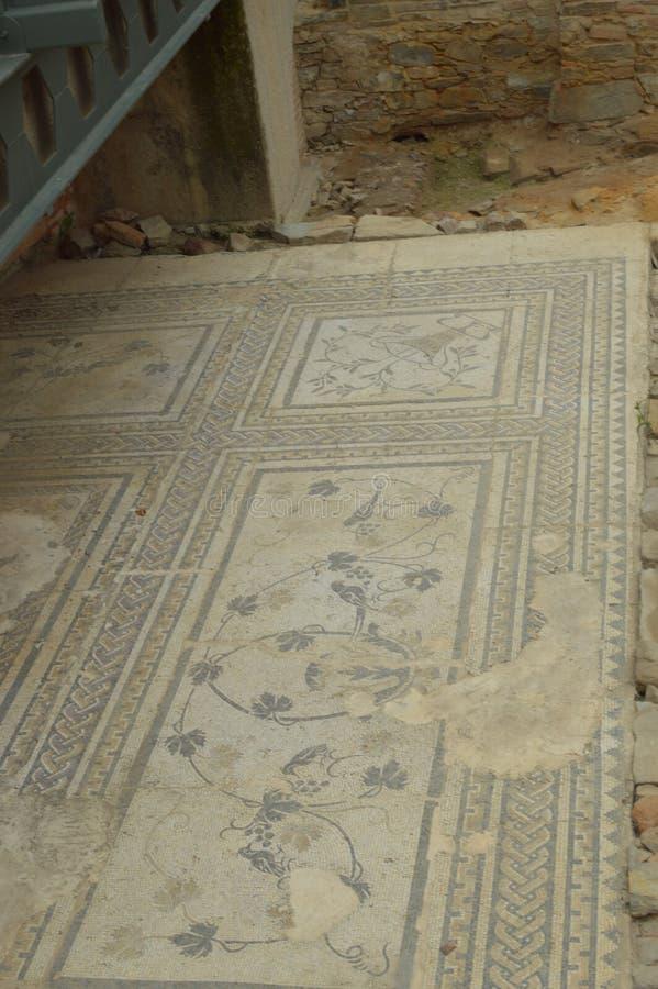 Roman Archaeological Remains And Roman mosaiker i Astorga Arkitektur historia, Camino De Santiago, lopp, gatafotografi fotografering för bildbyråer