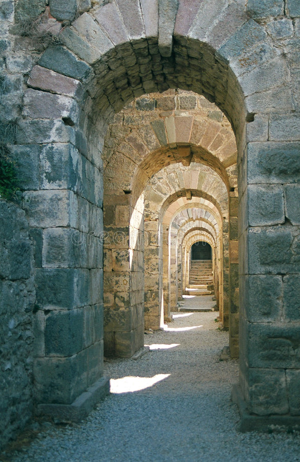 Roman archway in Pergamon stock images