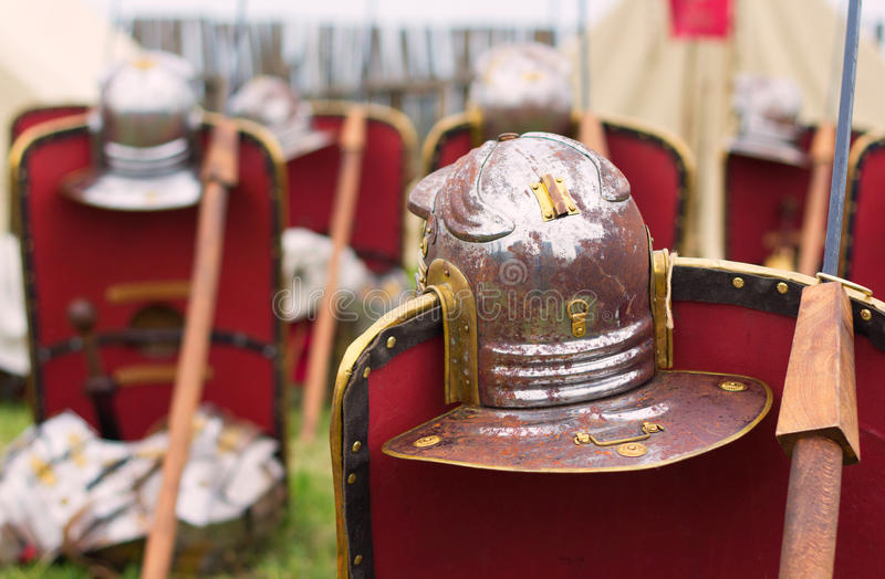 Roman armor. Shields, helmets and spears stock photos
