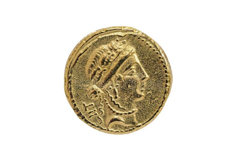 Roman Aureus Gold Coin van Julius Caesar met een waarschijnlijk hoofd van het godinvenus royalty-vrije stock afbeeldingen