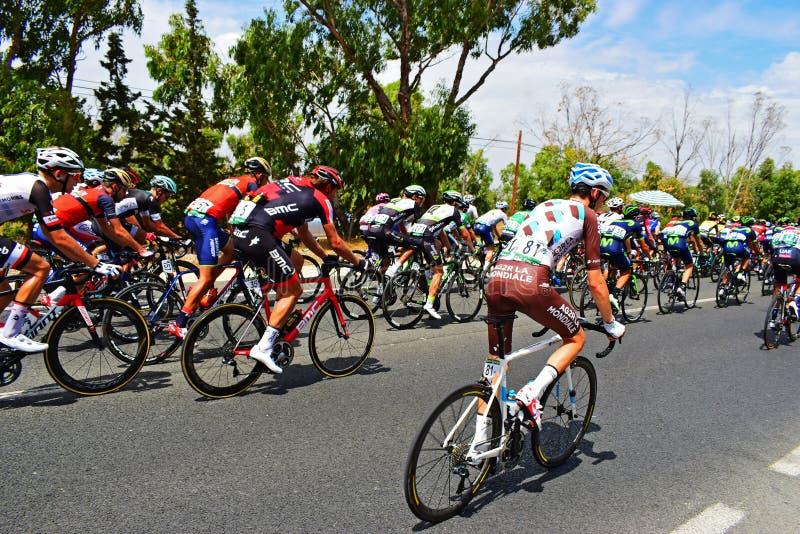 Roman Bardet In The Peleton La Vuelta España royaltyfri bild