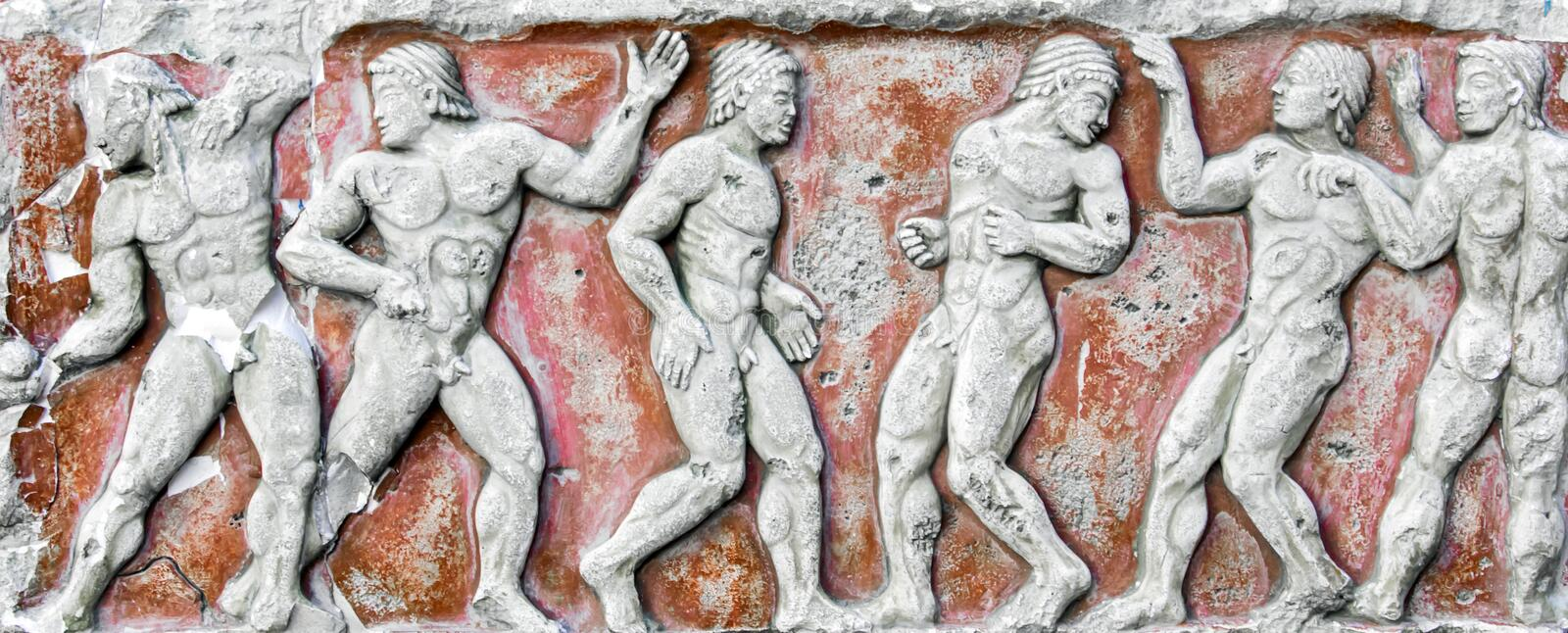 Roman Bas-relief and sculpture details in stone.  stock image