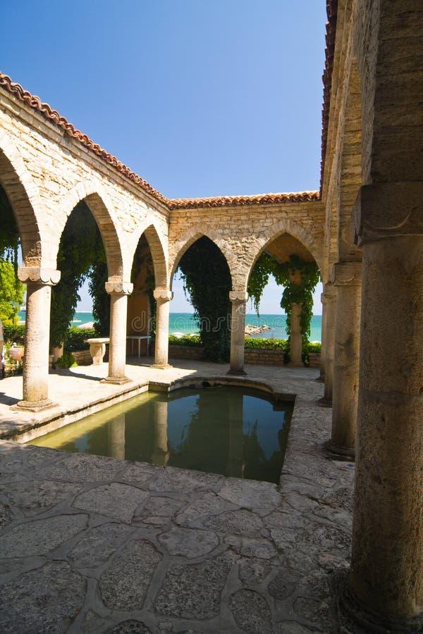 Roman bath , Balchik palace , Bulgaria. Roman bath in the yard of Balchik palace , Bulgaria royalty free stock images
