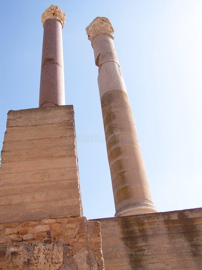 Roman Bath Columns Carthage Tunisia royaltyfri fotografi