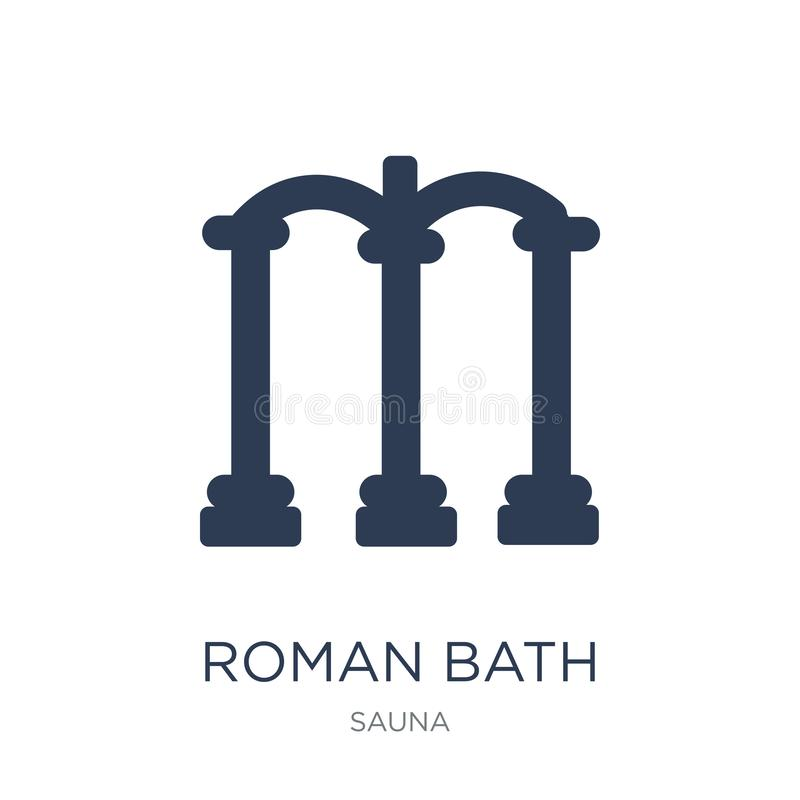 Roman bath icon. Trendy flat vector Roman bath icon on white background from sauna collection royalty free illustration