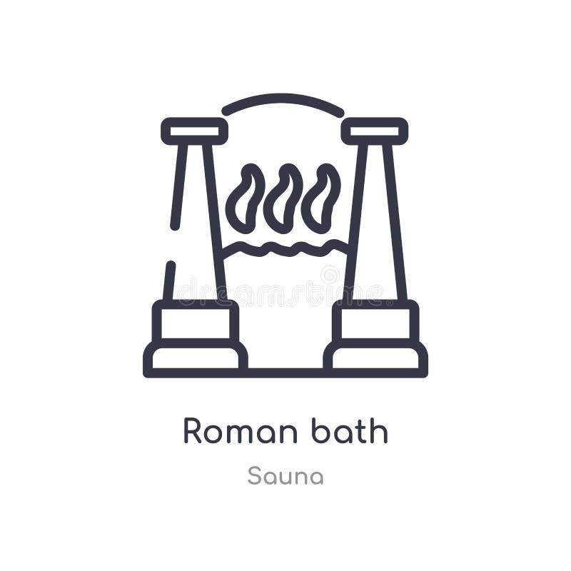 roman bath outline icon. isolated line vector illustration from sauna collection. editable thin stroke roman bath icon on white stock illustration