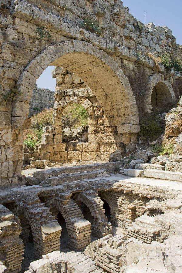 Roman bath in Perga stock photography