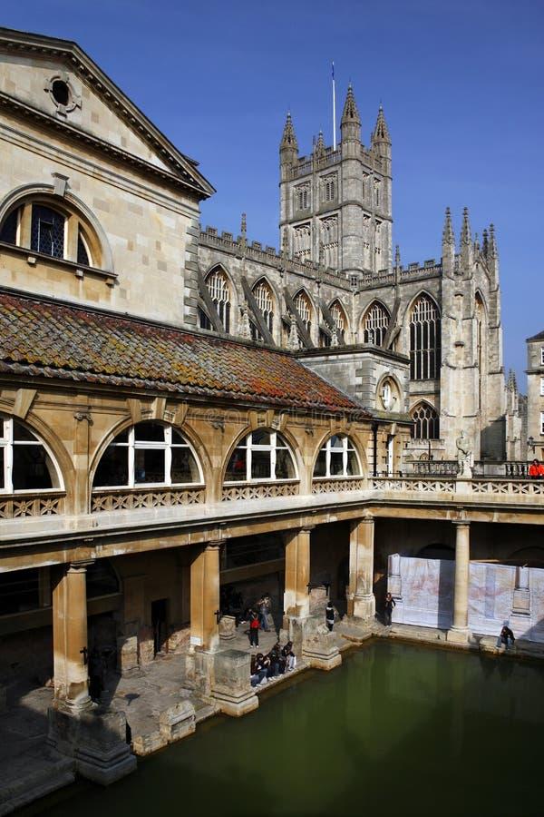 Roman Baths & Bath Abbey - Bath - England royalty free stock photo