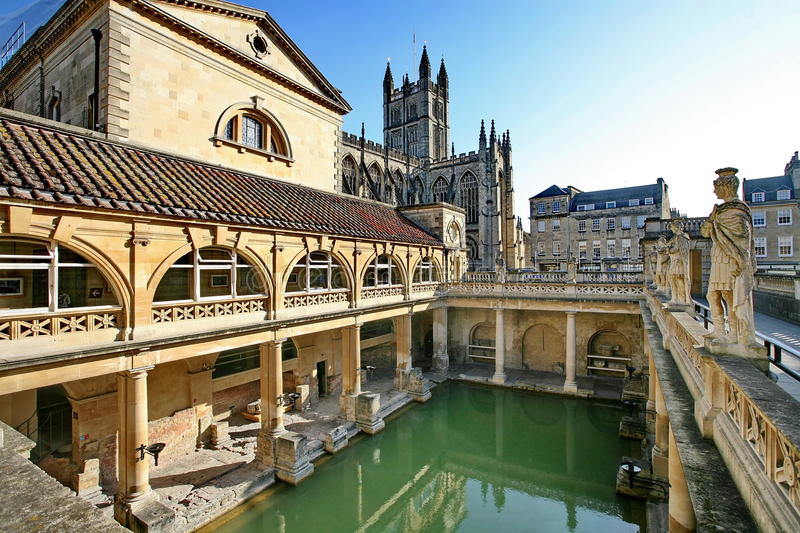 Download Roman Baths In Bath, England Stock Photo   Image Of Attraction,  Spring: