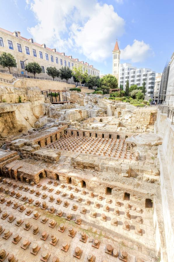 Roman Baths in Beiroet, Libanon royalty-vrije stock afbeelding