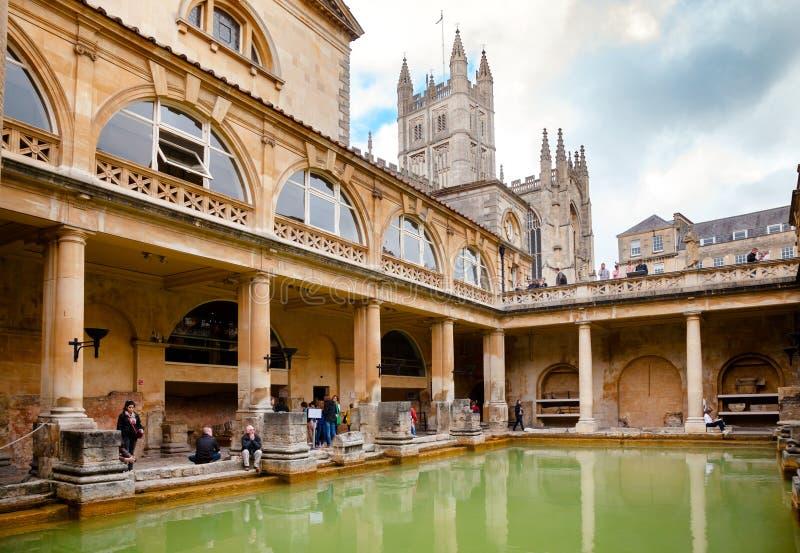 Roman Baths Great Bath no banho Somerset South West England Reino Unido imagem de stock