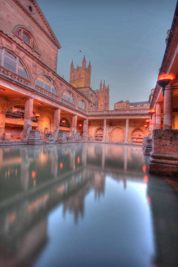 Roman baths in HDR. Ancient roman spa at bath England stock photos