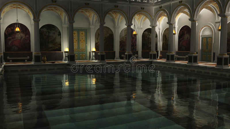 Roman Baths At Night Stock Photos