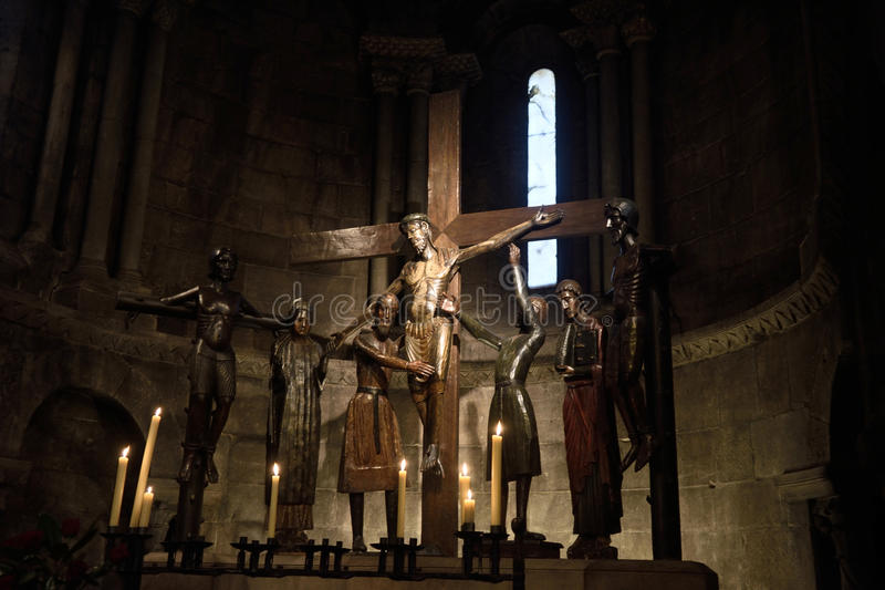 Roman beeldhouwwerk van Santissim Misteri van Sant Joan DE les Ab royalty-vrije stock afbeeldingen