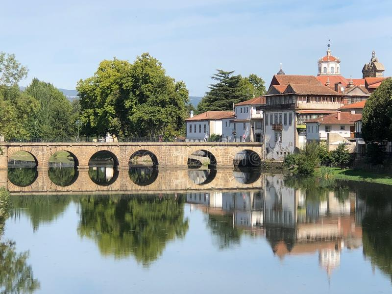 Roman Bridge over Tamega River in Chaves, Portugal. Roman Bridge overg Tamega River in Chaves, Portugal, Europe stock photography