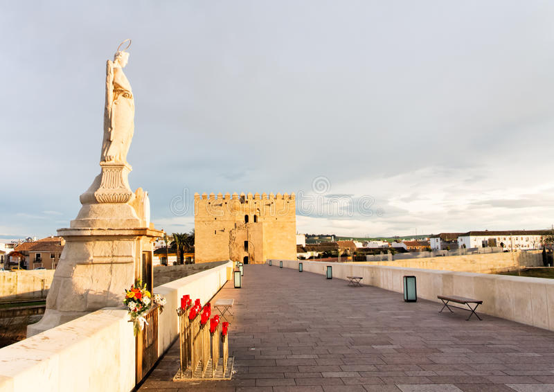 Roman Bridge and Calahorra Tower, Cordoba, Spain royalty free stock images