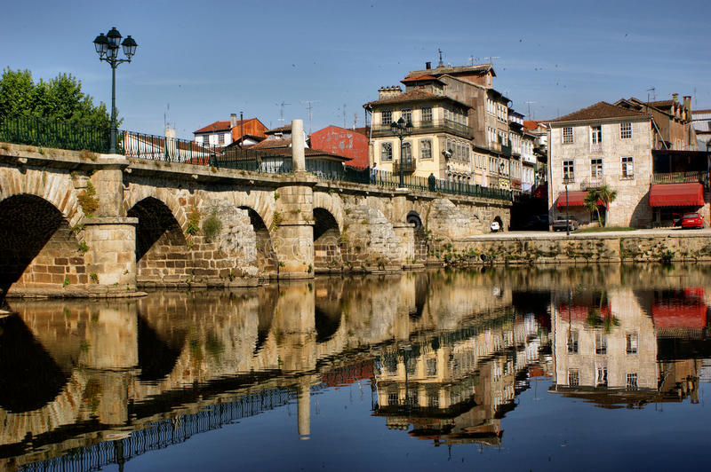 Roman bridge of Chaves. North of Portugal stock image