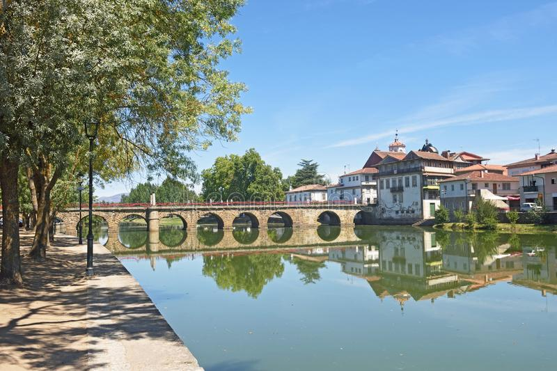 Roman bridge of Chaves,. Portugal stock photography