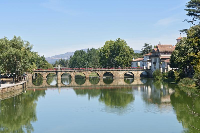 Roman bridge of Chaves,. Portugal royalty free stock photography