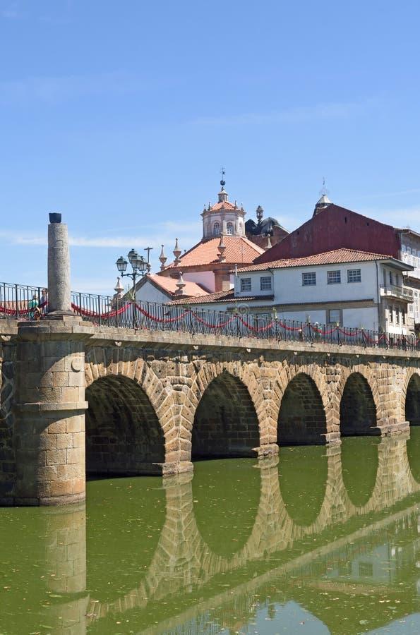 Roman bridge of Chaves,. Portugal stock photo