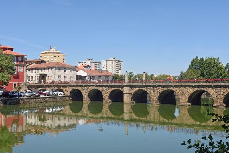 Roman bridge of Chaves,. Portugal royalty free stock photo