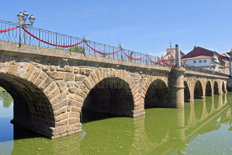 Roman bridge of Chaves,. Portugal royalty free stock photos